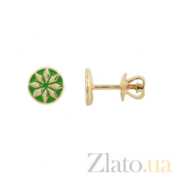 Золотые пуссеты Лайма с зеленой эмалью 2С766-0021