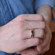 Мужская печатка с черным сапфиром и бриллиантами Джеймс Бонд