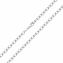 Серебряная родированная цепочка Анталь свободного якорногог плетения, 2,5мм