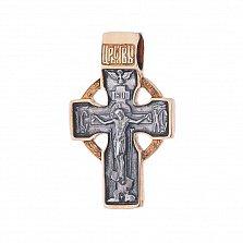 Серебряный крестик с позолотой и чернением Святой Хранитель
