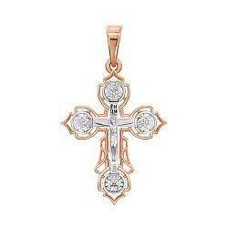 Золотой крестик в комбинированном цвете с цирконием 000139976