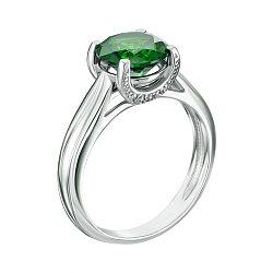 Серебряное кольцо Адриана с зеленым кварцем