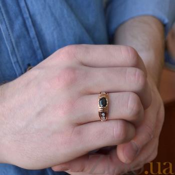 Мужская печатка с черным сапфиром и бриллиантами Джеймс Бонд AUR--31146 45