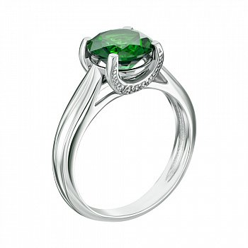 Серебряное кольцо с зеленым кварцем 000064392