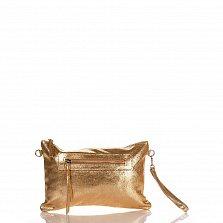 Кожаный клатч Genuine Leather 1661 цвета красное золото с короткой ручкой на запястье и молнией