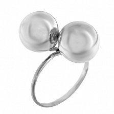 Серебряное кольцо Экстра с двумя шарами