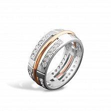 Серебряное кольцо Армель с золотой накладкой и фианитами