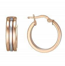 Золотые широкие серьги-кольца Параллели в комбинированном цвете металла