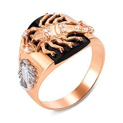 Золотой перстень-печатка Скорпион в комбинированном цвете с черным ониксом и фианитами