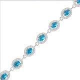 Серебряный браслет Сателлит с голубыми и белыми фианитами