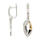 Серебряные серьги с золотой вставкой и фианитами Мальва