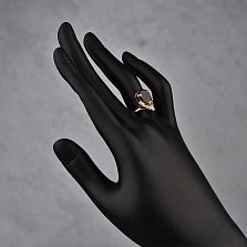 Золотое кольцо Сюзанна с гранатом и белыми топазами
