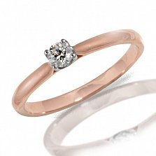 Кольцо из красного золота Согласие с бриллиантом
