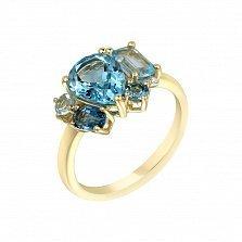 Золотое кольцо Морро в желтом цвете с топазами и бриллиантами