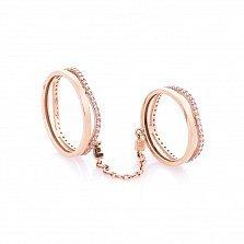 Золотое двойное кольцо на фалангу Пруденс с фианитами