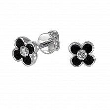 Серьги из белого золота Черные цветы с бриллиантами и эмалью