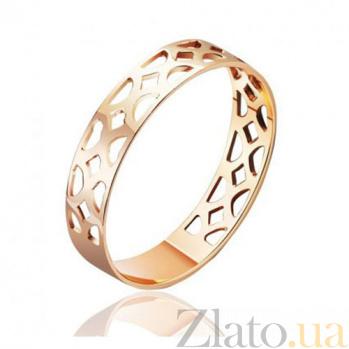 Обручальное кольцо ажурное из красного золота Меланхолия 000001883
