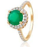 Золотое кольцо София с зеленым ониксом и фианитами