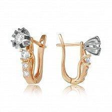 Золотые серьги Снежана с бриллиантами