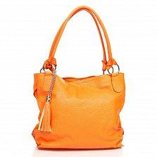Кожаная сумка на каждый день Genuine Leather 8954 оранжевого цвета с декоративной кистью на цепочке