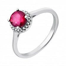 Серебряное кольцо Летисия с рубином и фианитами