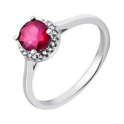 Серебряное кольцо с рубином и фианитами 000117813