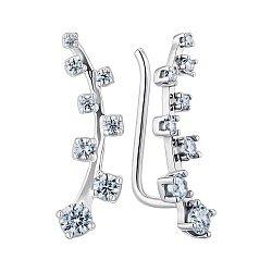 Серебряные серьги-каффы с фианитами 000148748