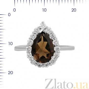 Серебряное кольцо Сусанна с раухтопазом и фианитами 000081587