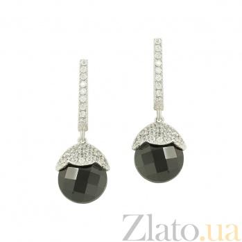 Золотые серьги с гранатом и фианитами Синтия 2С765-0037