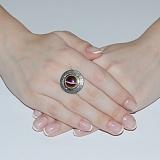 Серебряное кольцо Джоконда с золотой вставкой и улекситом