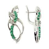 Серебряные серьги с бриллиантами и изумрудами Лара