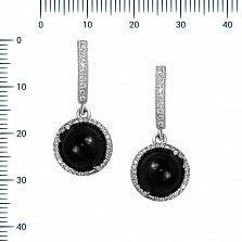 Серебряные серьги-подвески Элайя с ониксом и фианитами