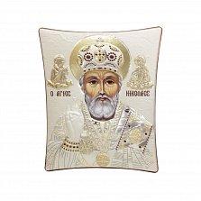 Православная икона Святой Николай Чудотворец на основе под дерево, гальванопластика, 11,8х14,6см