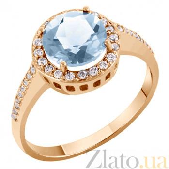 Кольцо в красном золоте Келли с голубым топазом и фианитами 000017409