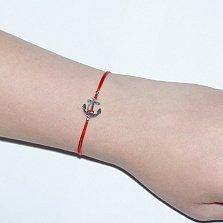 Шелковый браслет со вставкой Якорь