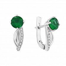 Серебряные серьги Простор с зеленым агатом и фианитами