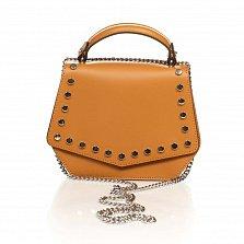 Кожаная сумка на каждый день Genuine Leather 1733 коньячного цвета с декоративными заклепками