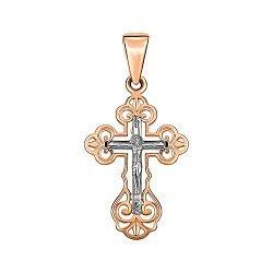 Золотой крестик в комбинированном цвете 000141678