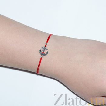 Шелковый браслет со вставкой Якорь 000023948