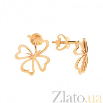 Золотые серьги Астрая с цветами в стиле минимализм 000096590