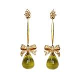 Золотые серьги с бриллиантами и лимонными топазами Pleasure