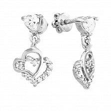 Серебряные пуссеты-подвески Три сердца с фианитами