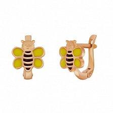 Детские золотые серьги Пчелка