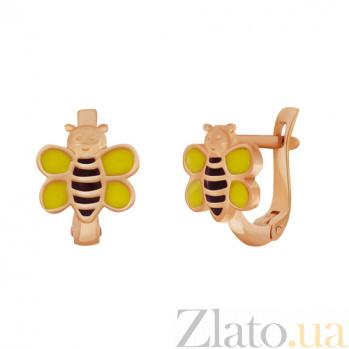 Детские золотые серьги Пчелка SVA--2190857101/Эмаль