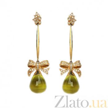Золотые серьги с бриллиантами и лимонными топазами Pleasure ZMX--EDTy-00163y