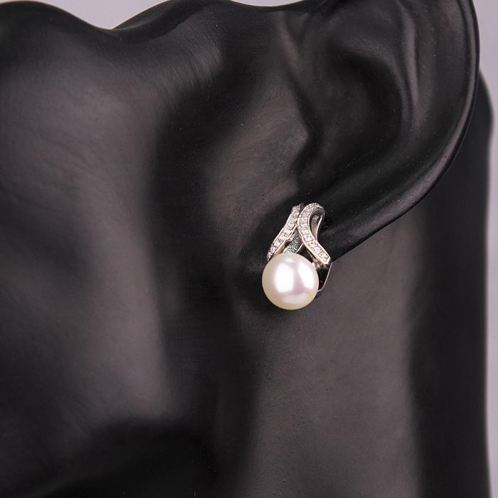 Серебряные серьги Снежана с жемчугом и фианитами 000072550