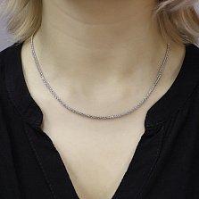 Серебряная цепочка Косичка объемного плетения с родием, 2мм