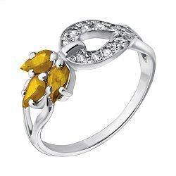Серебряное кольцо Весенний росток с цитринами и цирконием