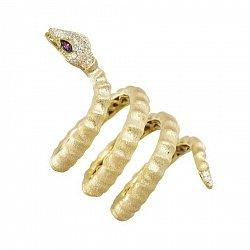 Серебряное кольцо Змейка в желтом цвете с разноцветными фианитами 000099679