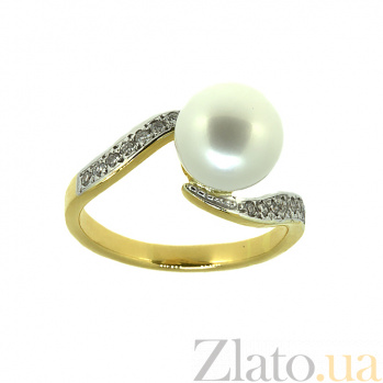 Золотое кольцо в жёлтом цвете с жемчугом и бриллиантами Войс ZMX--RP-6267y_K